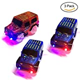 TSLIKANDO Car Track Replacement Toy Car (3 Pack) Glow in the Dark Racing Track Accessories Compatible with Most Tracks for Boys and Girls