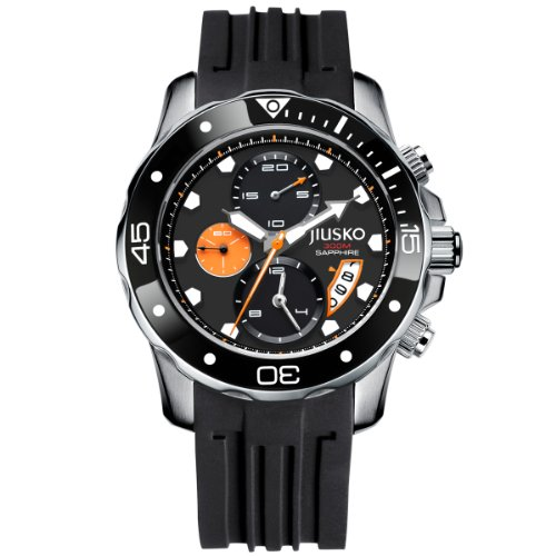 Jiusko Men'S 71Lsb1202 Deep Sea Series Quartz Chronograph 300M Water Resistant Silicone Dive Black Watch front-652622
