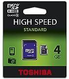 Toshiba SD-C04GJ(BL5A - Tarjeta de memoria flash micro SDHC de 4 GB con adaptador