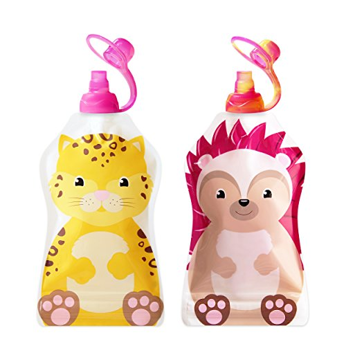 ChooMee Snackn - New! Reusable Food and Drink Pouch + Sipn Valve Tops | 2 CT - Cheetah and Hedgehog (Baby Hedgehog Food compare prices)