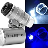 COLEMETER Mini Jeweler Loupe LED Light 60X Magnifier Microscope