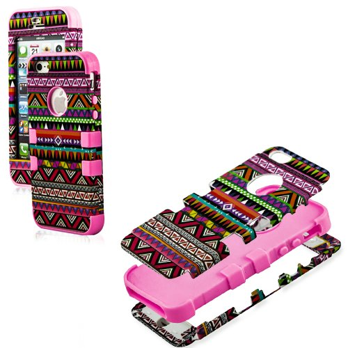 Mylife (Tm) Bubblegum Pink - Colorful Tribal Print Series (Neo Hypergrip Flex Gel) 3 Piece Case For Iphone 5/5S (5G) 5Th Generation Itouch Smartphone By Apple (External 2 Piece Fitted On Hard Rubberized Plates + Internal Soft Silicone Easy Grip Bumper Gel