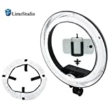 LimoStudio 18 inch Fluorescent Round Ring Light, Dimmable Continuous Lighting Kit, 5500K, Best for Beauty Facial Shoot, Cell Phone Spring Clip Holder, Camera Photo Studio, AGG2030