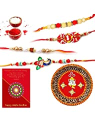 Ethnic Rakhi Designer Floral Pattern Multi-Color Fashionable And Stylish Mauli Thread And Beads Rakhi And Traditional... - B01IIMCJN2