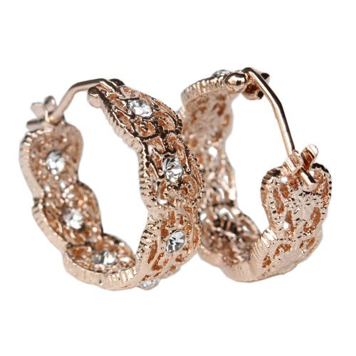 Fashion Plaza 18k Rose Gold Plated huggie hoop Earring E327