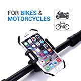 Bike Mount- Emixc Universal Phone Bicycle &Motorcycle Holder 360 Degrees Rotatable Cradle Clamp for iOS Android GPS Rubber Strap Fit Any Smartphone Emixc