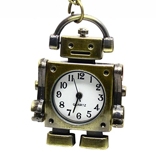 Infinite U Vintage Cute Robot Quartz Pocket Watch Arabic Numerals Bronze (Robot Watch Vintage compare prices)