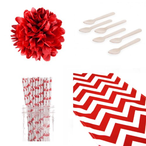 Dress My Cupcake Chevron Table Runner With Tissue Pom Poms Dessert Table Party Kit And Valentines Red Heart Straws front-493788