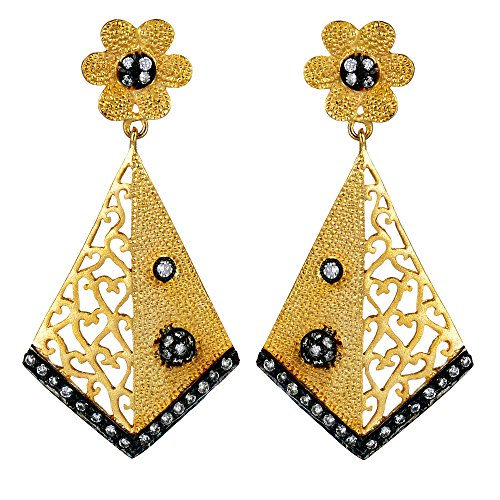 Gehnashop kite shaped designer earrings with CZ and black rodium for women (multicolor)