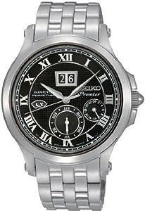 Seiko Premier Kinetic Black Dial Stainless Steel Mens Watch SNP041