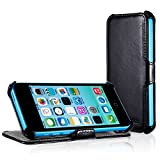 EasyAcc® Apple iPhone 5C Protective PU Leather Flip Case Covers Pouch Hard Case Holder Heavy Duty Bumper Tough Case Sleeve with Stand for iPhone 5C Black - Premium PU Leather image