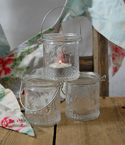 Set of three Hanging Tea Light Votives, wedding table candle holder