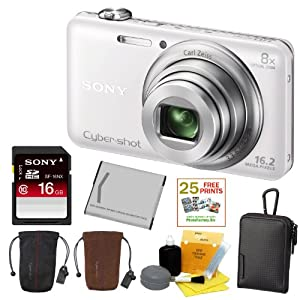 SONY Cyber-shot DSC-WX80/W Compact Zoom Digital Camera in White + 16GB Secure Digital Memory Card + Sony Case in Black + Sony Drawstring Style Case + 25 Free Quality Photo Prints + Lithium Ion Rechargeable Battery + Enhanced Lens Cleaning Kit