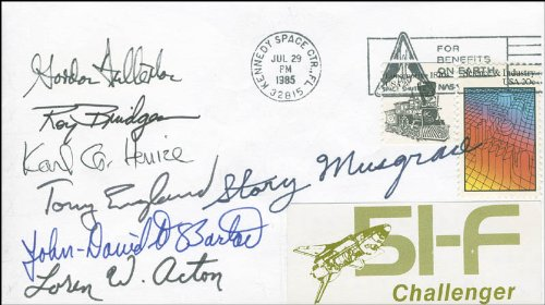 Space Shuttle Challenger - Sts - 51F Crew - Commemorative Envelope Signed Co-Signed By: John-David F. Bartoe, Anthony England, Story Musgrave, Major General Roy D. Bridges Jr., Loren Acton, Karl G. Henize, Colonel C. Gordon Fullerton