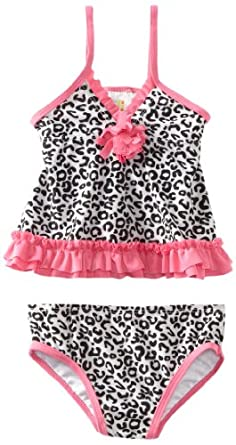 ABSORBA Baby-Girls Infant Swimsuit Two Piece, Black/White, 12