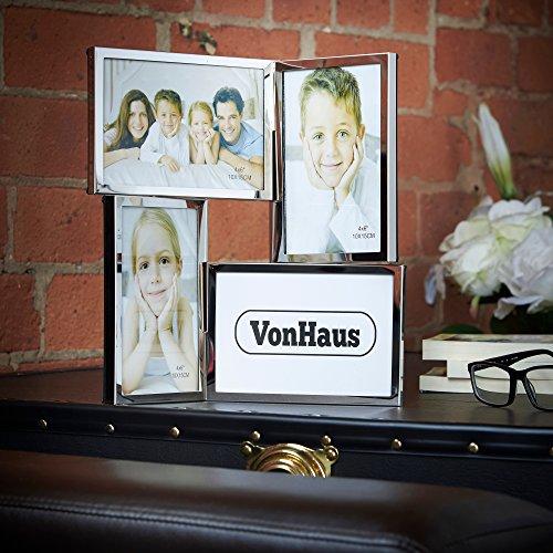 VonHaus Klappbarer Mehrzweck Bilderrahmen Fotorahmen für 4 Bilder aus Chrom - Ideal für Familienfotos