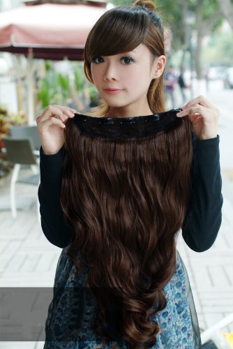 One Piece long Curly Wave synthetic hair extension clip-on dark brown