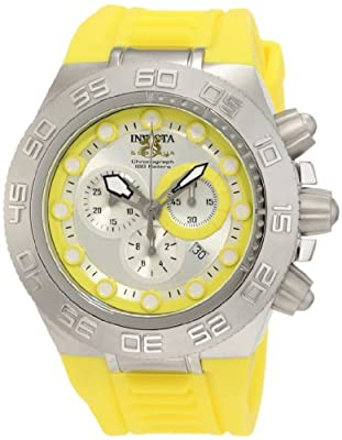 Invicta Men's 1534 Subaqua Sport Chronograph Silver Dial Yellow Silicone Watch