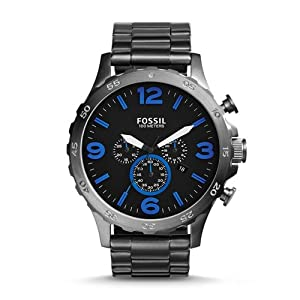Fossil Men's JR1478 Nate Chronograph Stainless Steel Watch - Smoke