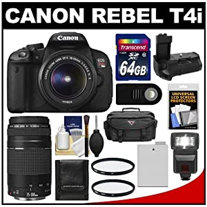 Canon EOS Rebel T4i Digital SLR Camera Body & EF-S 18-55mm IS II Lens with 75-300mm III Lens + 64GB Card + Case + Flash + Battery + Grip + Filters + Remote Kit