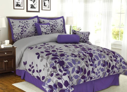 "7 Pieces Purple, Grey Fresca Vine Comforter (86""X86"") Bed-In-A-Bag Set Full (Double) Size Bedding"