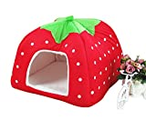 Freerun Cute Soft Strawberry Small Cotton Soft Dog Cat Pet Bed House (Red, XL)