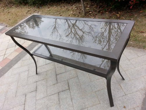Aluminum Outdoor Glass Top Console Table