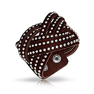 Bling Jewelry Beaded Stainless Steel Studded Brown Leather Cuff Bracelet 7in