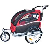 "Booyah ""Swivel"" 3in1 Double Baby Bicycle Bike Trailer & Jogger Red"
