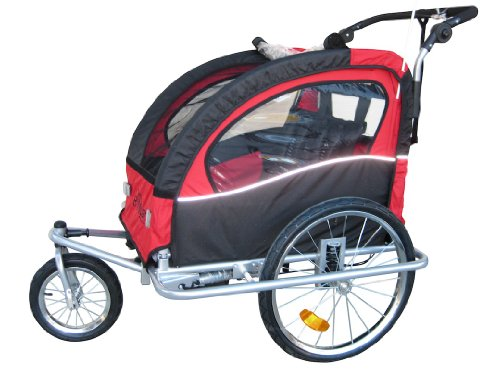 """Booyah """"Swivel"""" 3In1 Double Baby Bicycle Bike Trailer & Jogger Red"""