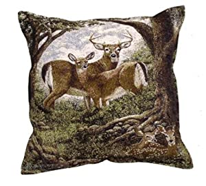 #!Cheap Deer Hidden Eyes Nature Decorative Tapestry Toss Pillow Made in the USA