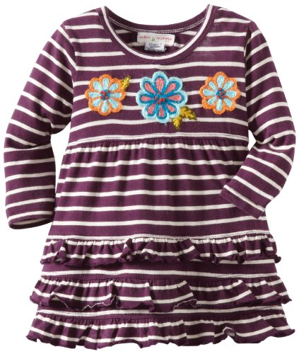 MIMI & MAGGIE Baby-Girls Infant Infant Dreams And Wishes Stripe Dress, Purple, 18 Months