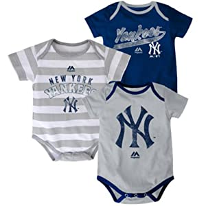 New York Yankees Triple Play II Infant Bodysuit 3-Piece Set by Majestic