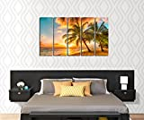 X-Large-Framed-5-Panel-Canvas-Wall-Art-Sunset-Sea-Beach-with-Coconut-Palm-Tree-Ready-to-Hang-Modern-Giclee-Art-Worl-Sea-Painting-Picture-Photo-Print-on-Canvas-for-Home-Office-Decoration