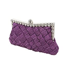 BMC Womens Evening Elegant Jeweled Rhinestone Pleated Cocktail Party Handbag-PURPLE
