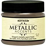 Rust-Oleum Metallic Accents 255300 Decorative 2-Ounce Trail Size Water Based One Part Metallic Finish Paint, Champagne