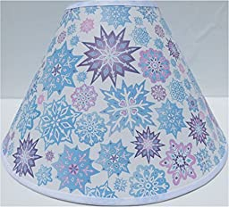 Snowflake Lamp Shades / Children\'s Snowflake Lamp Shade with Pink, Purple and Blue Snow Flakes