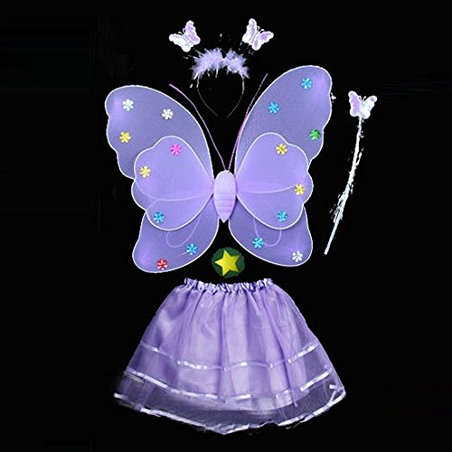 4 Pcs Wings Wand Set for Girls Dress up Party Halloween Costume Favor Toy Purple