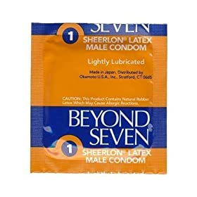 100 Beyond Seven Sheerlon Natural Rubber Latex Condoms, Extra Thin and Sensitive, Lightly Lubricated