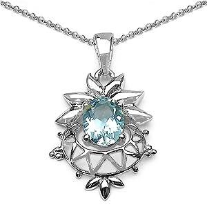 genuine blue topaz ovals sterling silver floral pendant