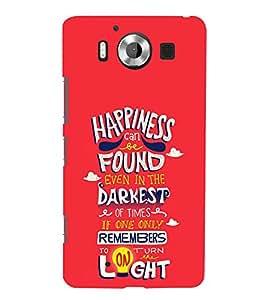 Happiness Darkest Light 3D Hard Polycarbonate Designer Back Case Cover for Nokia Lumia 950 :: Microsoft Lumia 950