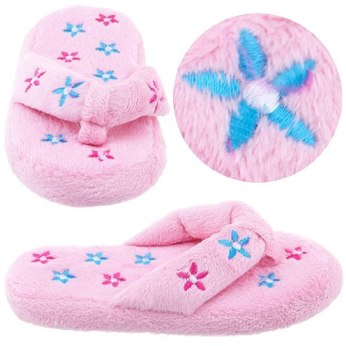 Cheap Pink Floral Thong Style Slippers for Girls (B005Y4T9RM)