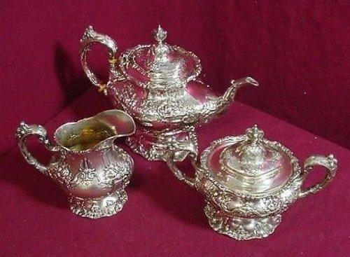 Francis I By Reed & Barton Sterling Silver Tea Set Tea Pot Creamer Sugar 3Pc