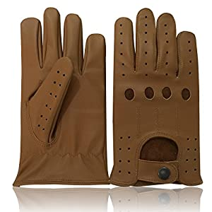 DRIVING GLOVES REAL LEATHER TAN COLOR UNLINED MENS DRIVING GLOVES 507 XLARGE