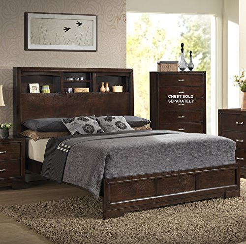 Furniture Montana Modern Wood Bookcase Bed Queen Walnut Sets Bedroom