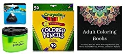 Crayola 50 Count Long Colored Pencils (68-4050) + Adult Coloring Book + Prismacolor Scholar Colored Pencil Sharpener (1774266) & Scholar Eraser (1774265) ... (50 Count)