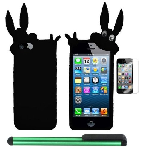 >>  Black Rabbit Silicone Skin Premium Design Protector Soft Cover Case Compatible for Apple Iphone 5 (AT&T, VERIZON, SPRINT) + Screen Protector Film + Combination 1 of New Metal Stylus Touch Screen Pen (4