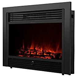 "Uenjoy 28.5"" Embedded Electric Fireplace Insert Heater w/ Remote Glass View Log Flame"