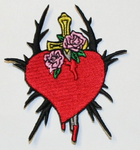 Heart W/ Dagger Thornes Embroidered iron on Motorcycle Biker Patch