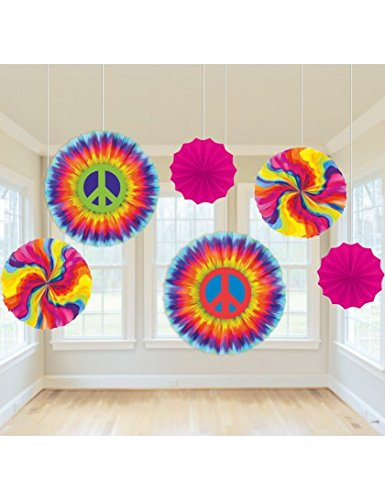 Feeling Groovy Paper Fan Decorations 6ct